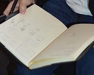 アローグラフの坂本さんが付けているアイデア帳